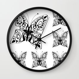 Butterfly black fishnet on a white background Wall Clock