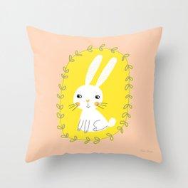 Bunny - White Yellow Peachy Pink Nursery Decor Illustration by Tasha Johnson Throw Pillow