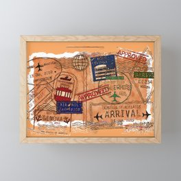 Entry Approved - Passport Stamps Framed Mini Art Print