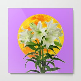EASTER LILIES ON LILAC GOLDEN MOON Metal Print