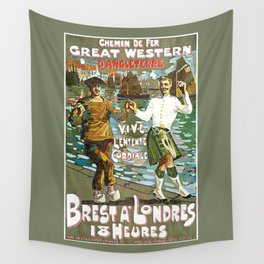 France to England, Brest to London vintage travel ad Wall Tapestry