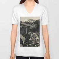 sweden V-neck T-shirts featuring GSTAAD SWEDEN by Kathead Tarot/David Rivera