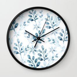 Watercolor Floral Pattern (Winter Version) Wall Clock