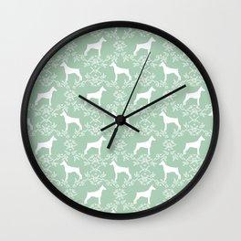 Doberman Pinscher floral silhouette mint and white minimal basic dog breed pattern art Wall Clock