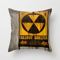 fallout Throw Pillows featuring Fallout Shelter by Julie Maxwell
