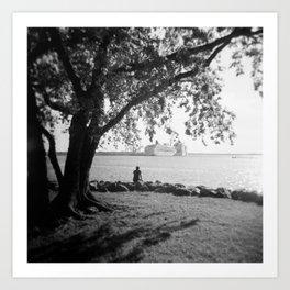 Boy Watching the Boats in the Harbor - Norfolk, Va - Film Photograph Art Print