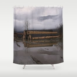 Timber Logs With A Foggy Mountain View Shower Curtain