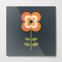RETRO FLOWER - ORANGE AND CHARCOAL Metal Print