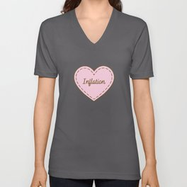 I Love Inflation Simple Heart Design Unisex V-Neck