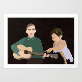 Guitar kids Art Print