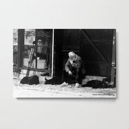 Contemplating in Bosnia Metal Print