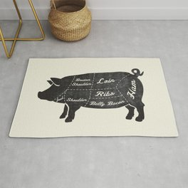 PORK BUTCHER DIAGRAM (pig) Rug