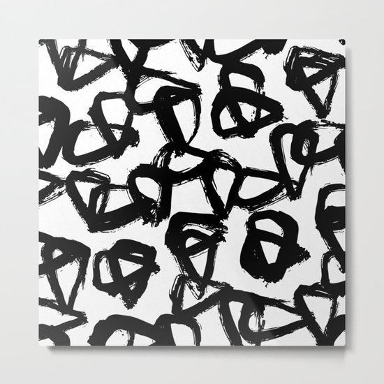 Painted Geometric Black and White Metal Print