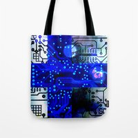 finland Tote Bags featuring circuit board Finland by seb mcnulty