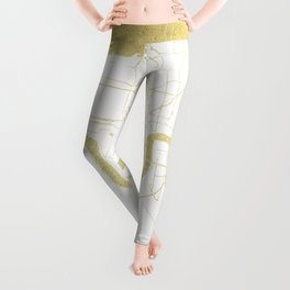 New Orleans White and Gold Map Leggings
