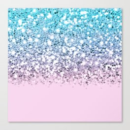 Sparkly Unicorn Blue Lilac & Pink Ombre Canvas Print