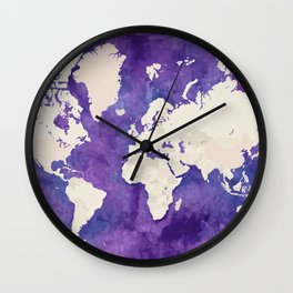 Purple watercolor and light brown world map with outilined countries Wall Clock