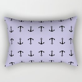 Anchors Away - Pastel Blue Anchor Nautical Pattern Rectangular Pillow