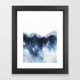Abstract Indigo Mountains Framed Art Print