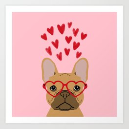French Bulldog head valentines day love hearts dog breed frenchies Art Print