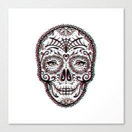 Sugar Skull (Calavera) Chromatic Aberration - Cyan Magenta Yellow Canvas Print