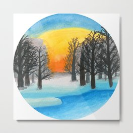 Forest in frozen Lake, Sunset Landscape Watercolor Metal Print