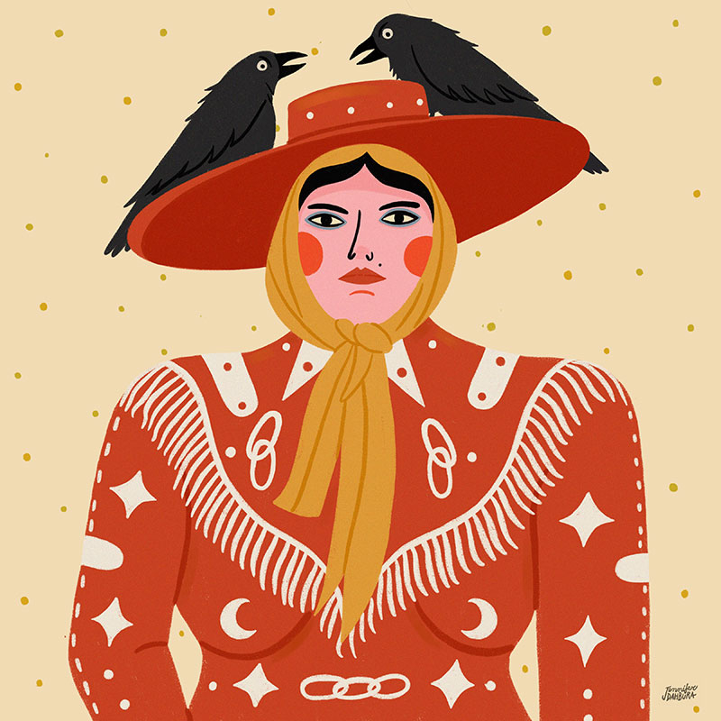 illustration of a woman wearing western attire with two crows perched on her cowgirl hat