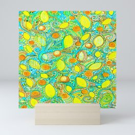 Abstract Citrus pattern drawing Mini Art Print