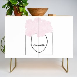 shopping bag with pink flowers Credenza