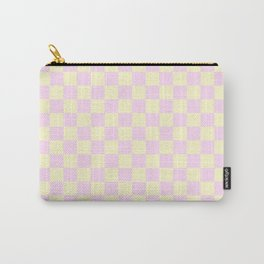 Cream Yellow and Pink Lace Checkerboard Carry-All Pouch