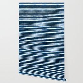 Geometrical navy blue white watercolor stripes Wallpaper