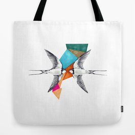 Swallows, geometric drawing Tote Bag