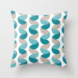 Abstract circle vertical rows teal & cream Throw Pillow
