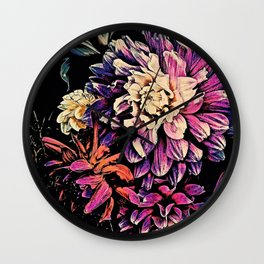 Autumn Dahlia Floral Bouquet Wall Clock