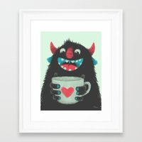 coffee Framed Art Prints featuring Demon with a cup of coffee by Lime