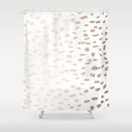 Gold Modern Polka Dots on White Shower Curtain