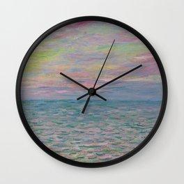 """Claude Monet """"Coucher de soleil à Pourville, pleine mer"""" Wall Clock"""