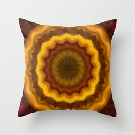 Lovely Healing Mandalas in Brilliant Colors: Pink, Yellow, Gold, and Bronze Throw Pillow