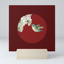 Ruby-Throated Hummingbird at the Blossom Mini Art Print
