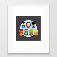 justice league Framed Art Prints featuring Pixel Art - Justice League of America parody by Cloudsfactory