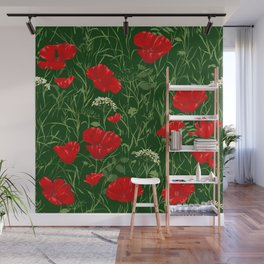 Red poppies on green field Wall Mural