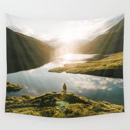 Switzerland Mountain Lake Sunrise - Landscape Photography Wall Tapestry