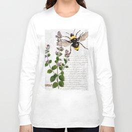 Cottage Style Thyme, Bumble Bee, Hummingbird, Herbal Botanical Illustration Long Sleeve T-shirt