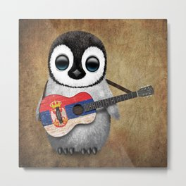Baby Penguin Playing Serbian Flag Guitar Metal Print