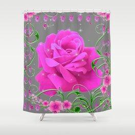 ROMANTIC CERISE PINK ROSE GREY ART RIBBONS Shower Curtain