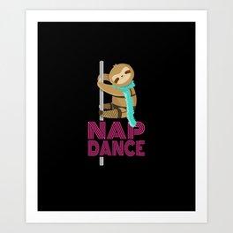 Funny Nap Dance Neon Sign Cute Sloth Pole Dancer Art Print