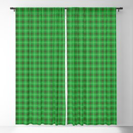 Christmas Holly Green and Evergreen Tartan with Red and White Lines Blackout Curtain
