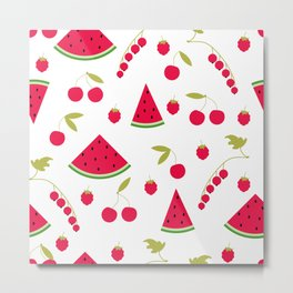 Pattern watermelon cherry raspberry currant Metal Print