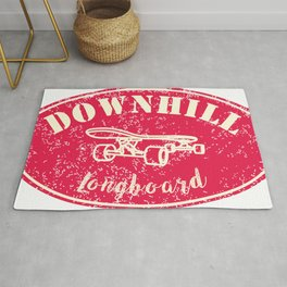 downhill a longboarding skater quote Rug