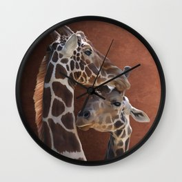 Endearing Giraffes Wall Clock